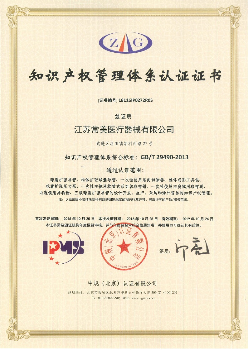Certificates jiangsu changmei has already passed intellectual property management system certification 1betcityfo Choice Image